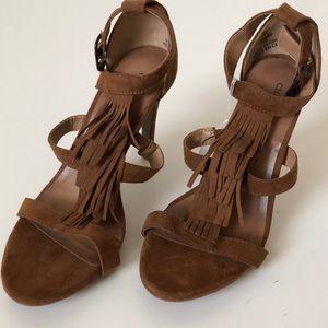 NWT- Brown fringe heels